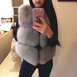 Wholesale Leather Mink Coats Women - new winter fox fur vest faux fur vest women jacket mink waistcoat outerwear short paragraph Leather grass fur coat gilet