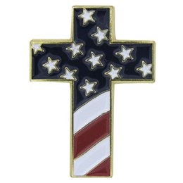 Wholesale Usa Flag Pins - Cross Special Design Pin with USA Flag