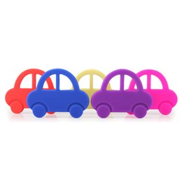 Wholesale Dental Children - Wholesale- Cartoon Car Baby Teether Children 's Educational Puzzle Toys Baby Dental Care Toothbrush Training Baby Care Silicone 5 Colors