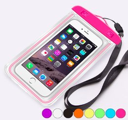 Wholesale Case Fluorescent - Luminous Glow Mobile Cell Phone Pouch Protective Waterproof Dry PVC Bag Case With Fluorescent For iPhone 6S 7 Plus Sumsung Note 5 S8 Cases
