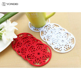 christmas tree snows Coupons - Wholesale- 10 pcs lot Snow Coasters For Christmas Decoration for home Snowflake Insulation Coasters Table Dcorative Coasters