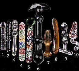 Wholesale Dildo Crystal - 10pcs Set Crystal Glass Dildo Fake Penies Lesbian Massage,Adult Products,Sex Toy Sex Product For Women