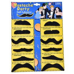 Wholesale Mustache Toys - Wholesale-12PCS Costume Party Halloween Fake Mustache Moustache Funny Beard Whisker Worldwide Kids Adult Gag Toys Novelty Toy Gifts