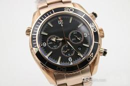 Wholesale Planet Ocean Gold - Chronometer Stopwatch Quartz Wristwatch Co-Axial Full Rose Gold Strap & Skeleton Planet Ocean Male Watch Black Bezel Fluted Case Ti3 Male