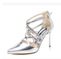 Wholesale Sexy Golden High Heels - Women medium red golden sexy pumps heels lady shoes fashion black pointed toe thin high female silvery Wedding heel Sandals shoe