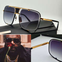Wholesale new men brand designer sunglasses mach five titanium sunglasses K gold plated vintage retro style square frame crystal lens top one