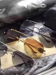 Wholesale Fashions New York - New Brand Designer Sunglasses Chrome New York Designer Sunglasses Pilot Frame Borderless Steam Punk Style uv400 Lens