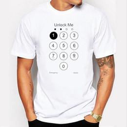 Wholesale Funny Phones - 2017 Summer Design Funny Unlock Men T shirt Phone Screen Top Tee Shirts 100% Cotton Men's Tshirt
