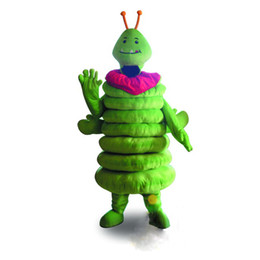 Wholesale Worm Costumes - Green Caterpillar Worm Mascot Costume Fancy Party Dress Halloween Costumes Adult Size High Quality free shipping