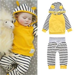 Wholesale Yellow Pants For Baby - Baby clothes Outfits for Girl Hoodies Pant set Striped Cute ears 2017 Spring Autumn Girl boy clothes Cotton Long sleeve Wholesale New