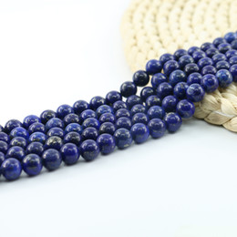 Wholesale Red White Blue Beads - TOP Grade AAA Natural Lapis Lazuli Gemstone Gem Round Loose Beads 4 6 8 10mm Strand 15 inch per Set L0059#