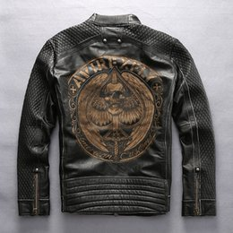 Wholesale Locomotive Jackets - AVIREXFLY Man Vintage motorcycle jacket First layer of genuine leather laser Painted Cranial skeleton Men's locomotive coats