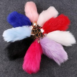 Wholesale Lucky Coin Charms - 2017new plush fur Keyring Tail Rabbit Long 15cm Lucky Charm Faux Fur Cute Soft Fluff Handbag Charms car keychain pendant Festival party gift