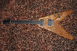 Wholesale Dragon Guitars - 6 string electric guitar Flying V style HH pickups Carved dragon guitar By hand Ash body OEM service factory directly supply