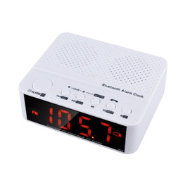 Wholesale Black Clock Radio - Wholesale- Mini Wireless Clock Alarm Bluetooth V2.1 Speaker with LED Time Display FM Radio TF Reader Black & White