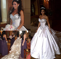 Wholesale Sweetheart Strapless Sparkling Wedding Dress - 2017 classic new Pnina Tornai wedding dress sparkling crystal ball gown sweetheart ivory beaded lace cathedral church wedding dress train