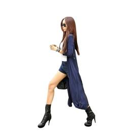 Schwarzer maxi-pullover online-Großhandels-Neuer Maxi Causaul Cardigan Feminino Knöchellängen-Strickjacke-Mantel-Frauen strickte koreanische Vintage schwarze übergroße Strickjacken