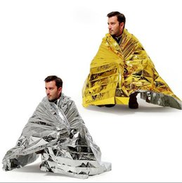 Wholesale Space Blankets Wholesale - WaterProof Emergency Survival Rescue Blanket Foil Thermal Space First Aid Sliver Rescue Curtain Outdoor 1000pcs OOA2168