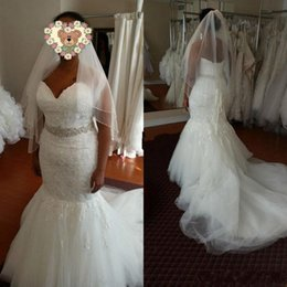 Wholesale Couture Crystal Wedding Gown - 2017 Couture Lace Wedding Dresses Mermaid Sweetheart Backless Beads Crystals Sash Lace Up Back Garden Wedding Bridal Gowns Custom Made