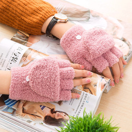 Wholesale Women Winter Half Glove - winter Warm gloves Half Finger Kint Wool Glove Flip Casual Fingerless Knit Soft Plush Buckle Mitten Flanging Warm Mittens Fashion