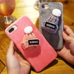 Wholesale Knitted Apple Hats - Fashion Handmade Plush Hat Cover For iPhone 7 Plus 6 6s Plus Cute Knitted Gift Phone Back Cases For iPhone 6 6s 7 Case Christmas