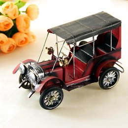 Wholesale Vintage Jewelry Wholesale Europe - Car Model Home Accents Jewelry Cartoon Design Vintage Art Iron Ford Metal Crafts Red Color Desktop Bookcase