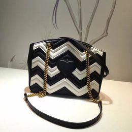 Wholesale Black Heart Bag - Free shipping 100% Genuine Leather Women's Shoulder Bags black + white Zig Zag Fashion Hearts bag Luxury brand messenger bag 29cm