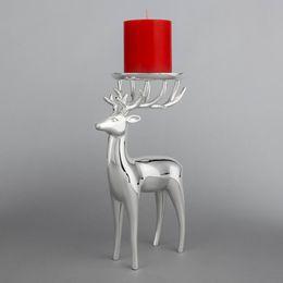 2019 lanterne in vetro di ferro Elegante argento placcatura Kisite Deer Candle Holder Tea Light Candle Stick Home Decor Regalo di compleanno DEC180