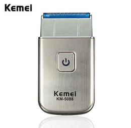 Wholesale Usb Shaver - Modern Kemei KM-5088 Mini Portable Men's Electric USB Rechargeable Cordless Beard Shaver Razor Travel