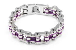 Wholesale Bike Jewelry Silver - Silver & Purple Cool 16mm Wide Bike bicycle Motorcycle Chain 316L Stainless steel Bracelet for Harley Biker Titanium steel bangle jewelry