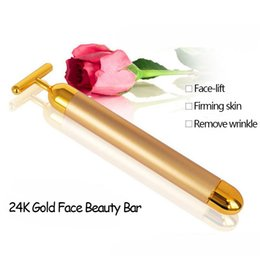 Wholesale Wholesale Leg Irons - 24K Gold T Beauty Bar Facial Roller Pulse Firming Massager Anti Aging Face Wrinkle Treatment Slimming Wrinkle Stick With Case