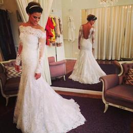 Wholesale Dress Bride Boat - Boat Neck Long Sleeve 2017 Wedding Dresses Mermaid Lace Appliques Sexy Backless Vestido De Noiva Formal Bridal Dress Custom Made Bride Gown