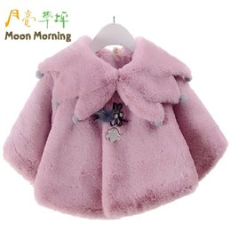 Wholesale Parka Children - Wholesale- Moon Morning Kids Coat Faux Fur Solid Girl Parkas Long Sleeve Winter Christmas Gift New Year Brand Manufacture Children Garment
