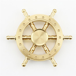 Wholesale Big Rotating Wheels - Pure Brass EDC Helmsman Fidget Spinner Hexagonal Rotating Hand Spinner Metal Steering Wheel Finger Toy ForFor Autism and ADHD Kids Adult