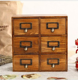 Wholesale Cabinet Wood - Six Box Vintage Home Decor Wooden Drawer Organizer Storage Box Cabinets Vintage Wood Wooden Drawers 26*10*26cm