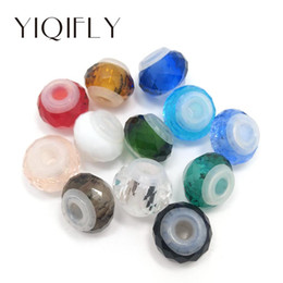 Wholesale 14mm Crystal Beads - Brand New Good Quality 14mm 20pcs Mix Colors Rubber Core Crystal Glass Big Hole Loose Stopper Beads fit European Jewelry DIY Bracelet Charms