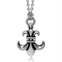 "Wholesale Fleur Lis Silver Pendant - Mprainbow Mens Necklaces Antique Stainless Steel Vintage Fleur De Lis Pendant Necklace Silver-color Men Jewelry with 24"" Chain"