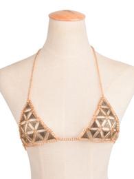 Wholesale Woman Bikini China - Retro Women Bra Chain Triangle Bikini Necklace Beach Breast Jewelry