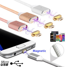 Wholesale High Speed Usb Phone Charger - High Speed Magnetic Micro USB Cable Nylon Braided Cable for Samsung HTC Huawei Android Phone Charger Line