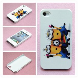 Wholesale Minions Iphone 4s Cases - Many Style Cute Cartoon Despicable Me Minions Stylish Pattern Hard Back Cover Case Skin For iphone 4 4S case Free Shipping