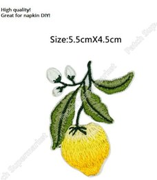 Wholesale Gardening Food - HIGH QUALITY Lemon Yellow Fruit Food Iron On Patches For Clothing Plant Garden Embroidered Badge Applique headband napkin diy