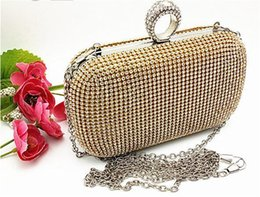 Wholesale Wholesale Crystal Evening Handbags - Fashion Bridal Accessories Bridal Hand Bags New Handcrafted Sparkly Shining Crystal Wedding Prom Party Evening Bag Hard Clutch Handbag Purse