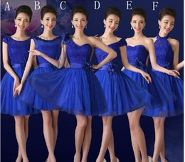 Wholesale Cheap Bow Brooch Pearl - Cheap Royal Blue Fashion Short Lace Tulle Ball Party Gown Sweetheart Bridesmaid Dress with Flower 2015 6 Style Under 50