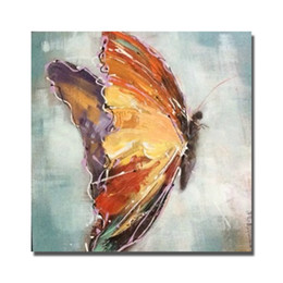 Wholesale Cartoon Flower Pictures - Hand painted top quality brown butterfly oil painting realistic design animal flower pictures decorative wall painting