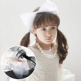 Wholesale Pageant Hair Bows - Girls big lace gauze Bows hair sticks fashion kids double pearl Bows pageant princess headwear children brithday party hairbands R1518