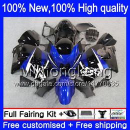 Wholesale Abs Hayabusa Fairings Kit Blue - Body Bodywork For SUZUKI Hayabusa GSXR1300 96 07 Blue black 2002 2003 2004 15LQ47 GSX R1300 GSXR-1300 GSXR 1300 2005 2006 2007 Fairing kit