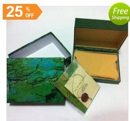 Wholesale Wood Cards - Free shipping Luxury watch Mens Watch Box Original Inner Outer Womans Watches Boxes Men Wristwatch Green box booklet card