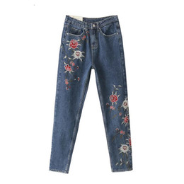Wholesale Ethnic Pants Woman - Wholesale- Women's spring and autumn trousers long Ethnic fertilizer embroidered flowers ladies jeans pants Slim casual pant vestidos