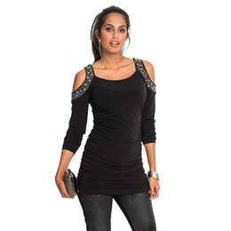 Spalla a maniche lunghe tagliato fuori le parti superiori online-Top t-shirt strass slim fit manica lunga spalla fredda taglio donna