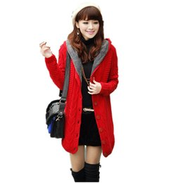 Wholesale Thick Hooded Cardigan Sweater - Fall Winter Fashion Style Velvet Women Cardigan 2017 Hot Sale Long Sleeve Hooded Collar Knitted Sweaters Brand Cardigans SW002